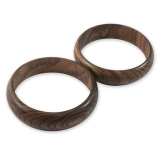 Set of 2 Handcrafted Hormigo Wood 'Eco Muse' Bracelets (Guatemala)