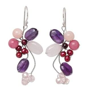 Handmade Pearl 'Purple Bouquet' Multi-gemstone Earrings (3-3.5 mm) (Thailand)