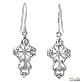 Handmade Sterling Silver 'Ornate Cross' Earrings (Thailand)