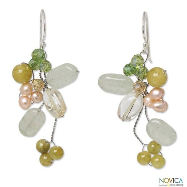 Handmade Pearl 'Lemon Bouquet' Multi-gemstone Earrings (3.5-4 mm) (Thailand)