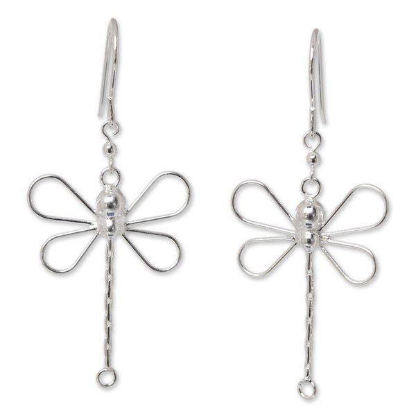 Beautiful Handmade Thai Design Dragonfly Earrings 925 Sterling Silver From Thailand MWQShWvQ7B