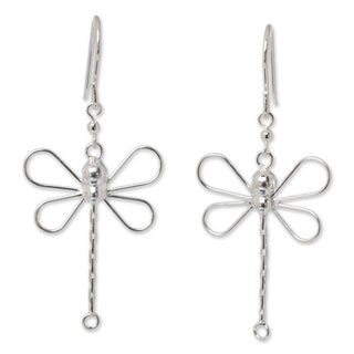 Handmade Sterling Silver 'Dragonfly Beauty' Earrings (Thailand)