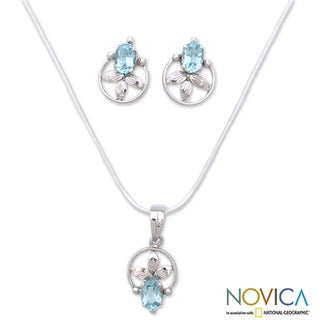 Handmade Sterling Silver 'Shy Flower' Blue Topaz Jewelry Set (India)