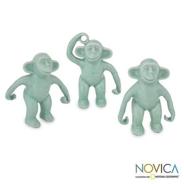 Handmade Set of 3 Celadon Ceramic 'Chimps Hang Out' Figurines (Thailand)