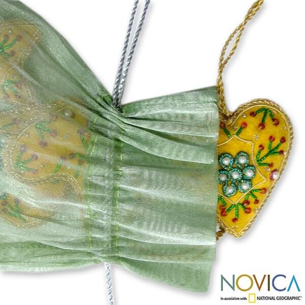 Set of 5 Handcrafted Beadwork 'Christmas Lemon' Ornaments (India)