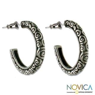 Handmade Sterling Silver 'Complexity Hoop' Earrings (Indonesia)