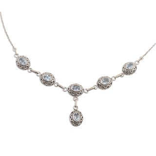 Sterling Silver 'Celeste Muse' Blue Topaz Necklace (India)