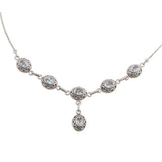 Handmade Sterling Silver 'Celeste Muse' Blue Topaz Necklace (India)