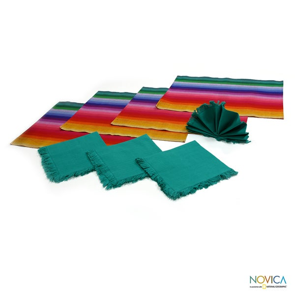 Set of 4 Cotton 'Rainbow Fantasy' Placemats and Napkins (Guatemala)