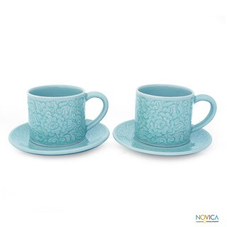 Set of 2 Celadon Ceramic 'Rose of Sharon' Cups and Saucers (Thailand)