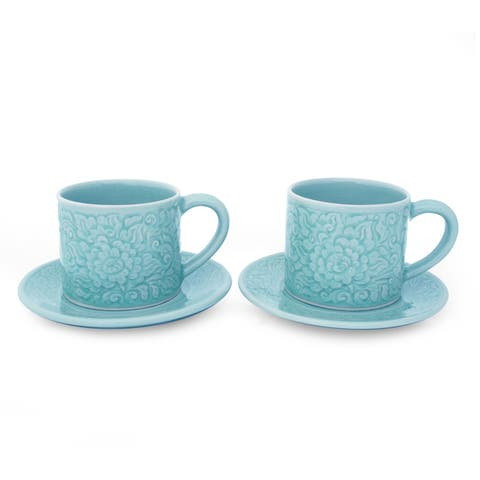 Handmade Set of 2 Celadon Ceramic 'Rose of Sharon' Cups and Saucers (Thailand)