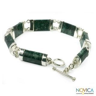 Handmade Sterling Silver 'Sweet Maya' Jade Bracelet (Guatemala)