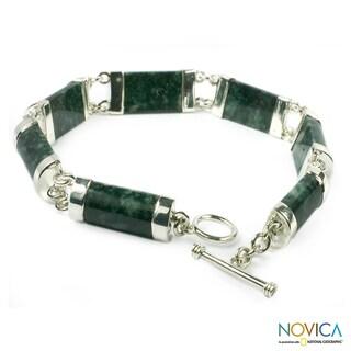 Sterling Silver 'Sweet Maya' Jade Bracelet (Guatemala)