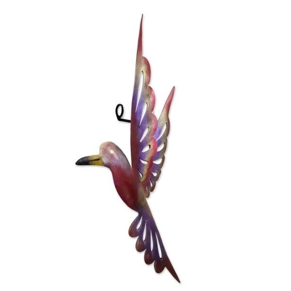 Handmade Rosy Hummingbird Medium Iron Wall Sculpture (Mexico)