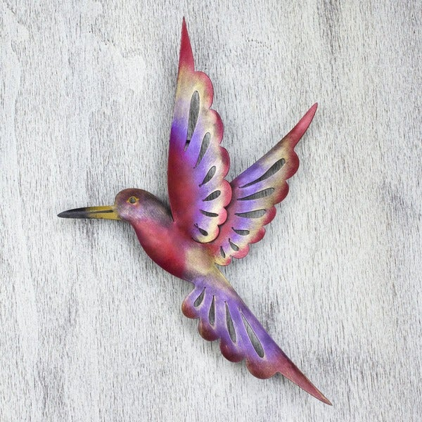 Handmade rosy hummingbird indoor outdoor patio garden for Hummingbird decor
