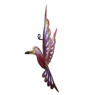 Rosy Hummingbird Indoor Outdoor Patio Garden Decorator Accent Red Purple Yellow Painted Iron Metal Wall Art Sculpture (Mexico)