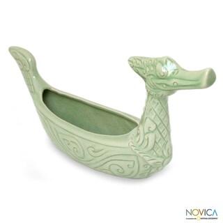Celadon Ceramic 'Thai Swan' Vase (Thailand)