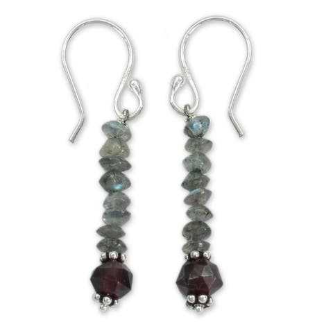 Handmade Sterling Silver 'Evening Mist' Labradorite and Garnet Earrings (India)
