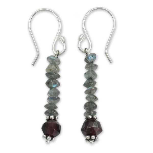 Handmade Sterling Silver 'Evening Mist' Labradorite and Garnet Earrings (India). Opens flyout.