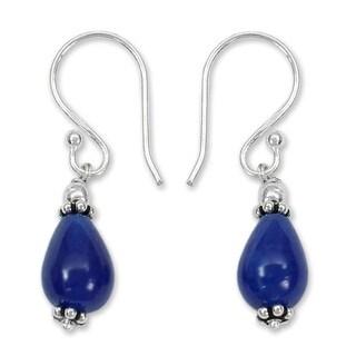 Handmade Sterling Silver 'Blue Dewdrop' Blue Chalcedony Earrings (India)