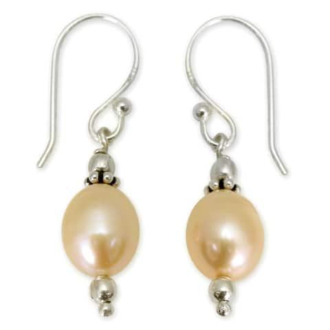 NOVICA Handmade Sterling Silver 'Dawn Destiny' Pearl Earrings (8 mm) (India)