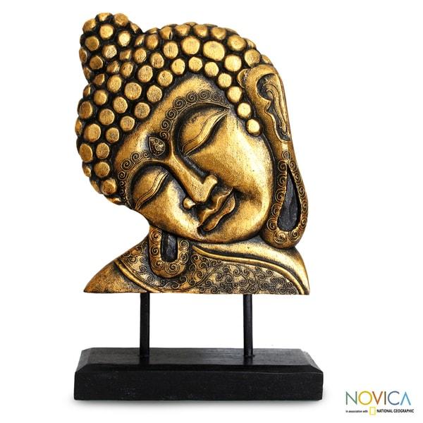 Albesia Wood 'Golden Buddha' Sculpture (Indonesia)