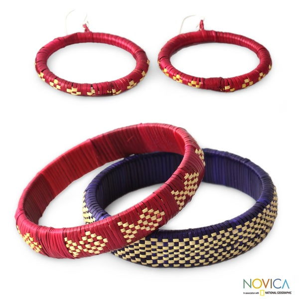 Handmade India Grass 'India Color' Jewelry Set (India)