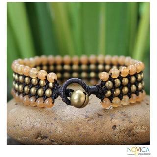 Handmade Brass 'Golden Sunrise' Quartz Bracelet (Thailand)