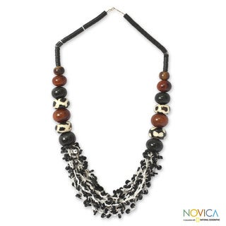 Handcrafted 'Zebra' Coconut Shell and Bull Horn Necklace (Ghana)
