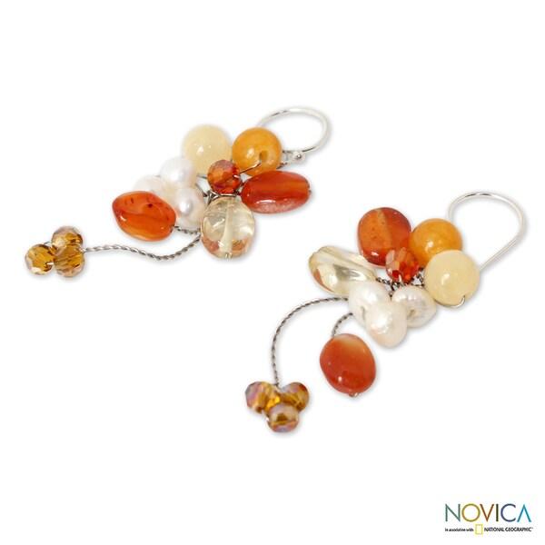 Handmade Multi-Gemstone 'Radiant Bouquet' Pearl Earrings (5 mm) (Thailand)