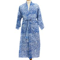 Handmade Cotton Men's 'Blue Baskets' Robe (Indonesia)