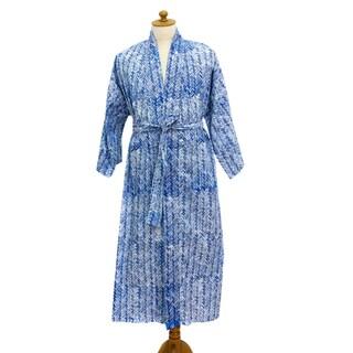 Handmade Cotton Men's 'Blue Baskets' Robe (Indonesia)