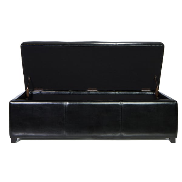Traditional Black Faux Leather Long Storage Ottoman Bench