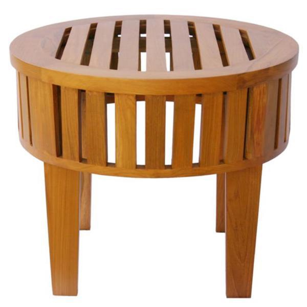 Natural Teak Wood Slatted Round Coffee Table