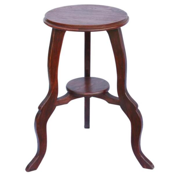 Mahogany Tone Teak Wood End Table With Cabriole Legs