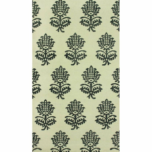 Rug Collective Hand-Knotted Overdyed Ivory/Black Ikat New-Zealand-Wool Rug