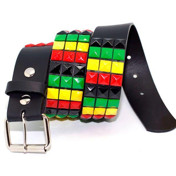 Toneka Multiple Color Pyramid Men's Faux-leather Belt
