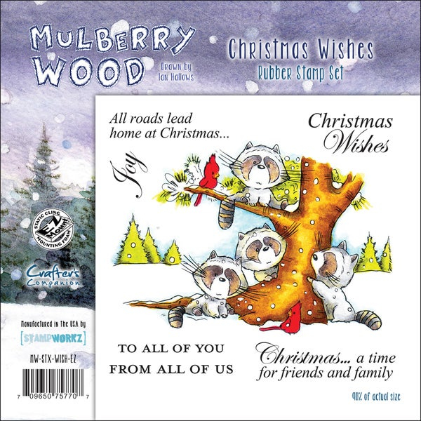 "Mullberry Wood EZMount Cling Stamp Set 4-3/4""X4-3/4""-Christmas Wishes"