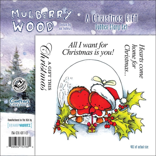 """Mullberry Wood EZMount Cling Stamp Set 4-3/4""""X4-3/4""""-A Christmas Gift"""
