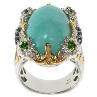 Michael Valitutti / Dr. Robi Two-tone Amazonite and Chrome Diopside Ring