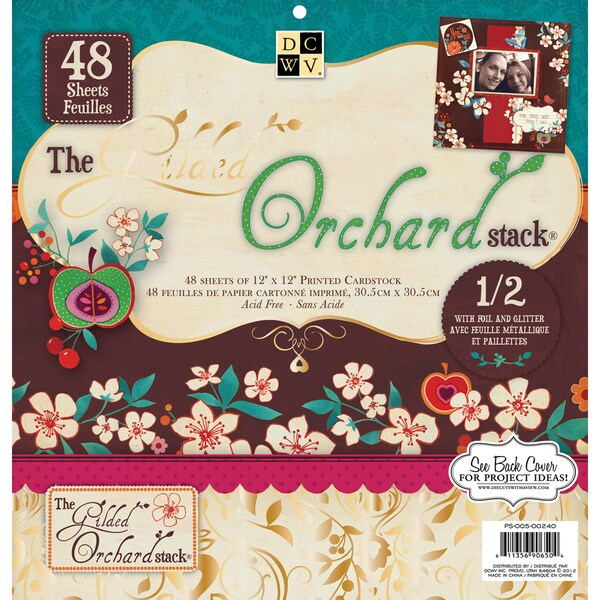 "Gilded Orchard Paper Stack 12""X12"" 48/Sheets-24 Designs/2ea, 12 W/Glitter Or Foil"