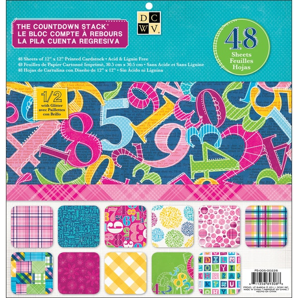 "Plaids & Countdown Paper Stack 12""X12""-48 Sheets"