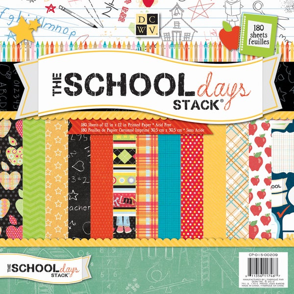 """Back To School Paper Stack 12""""X12""""-180 Sheets"""