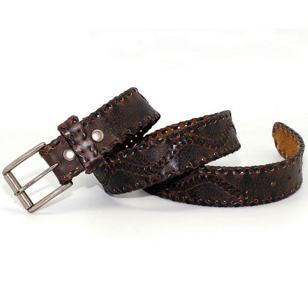 Toneka Rustic Men's Brown Faux-leather Belt