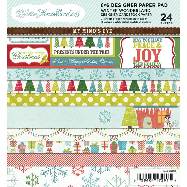 """Winter Wonderland Paper Pad 6""""X6"""" 24 Sheets-12 Double-Sided Designs/2 Each"""