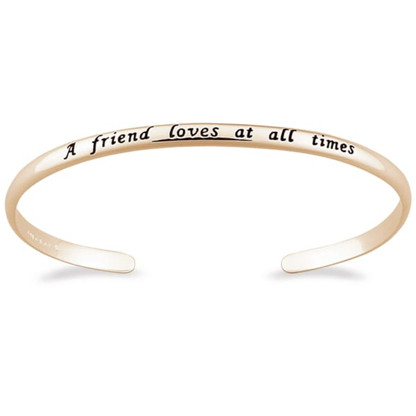 14k Gold over Silver 'A Friend Loves' Sentiment Bracelet