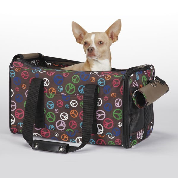 East Side Collection Brown Peace Out Pet Carrier