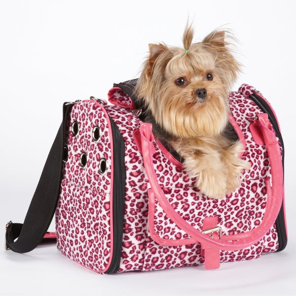 East Side Collection Vibrant Raspberry Pink Leopard Pet Carrier