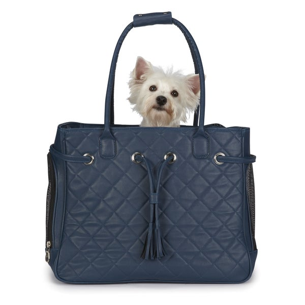 Zack & Zoey Vineyard Navy Quilted Small Pet Carrier
