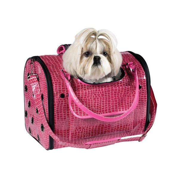 Zack & Zoey Pink Croco Pet Carrier